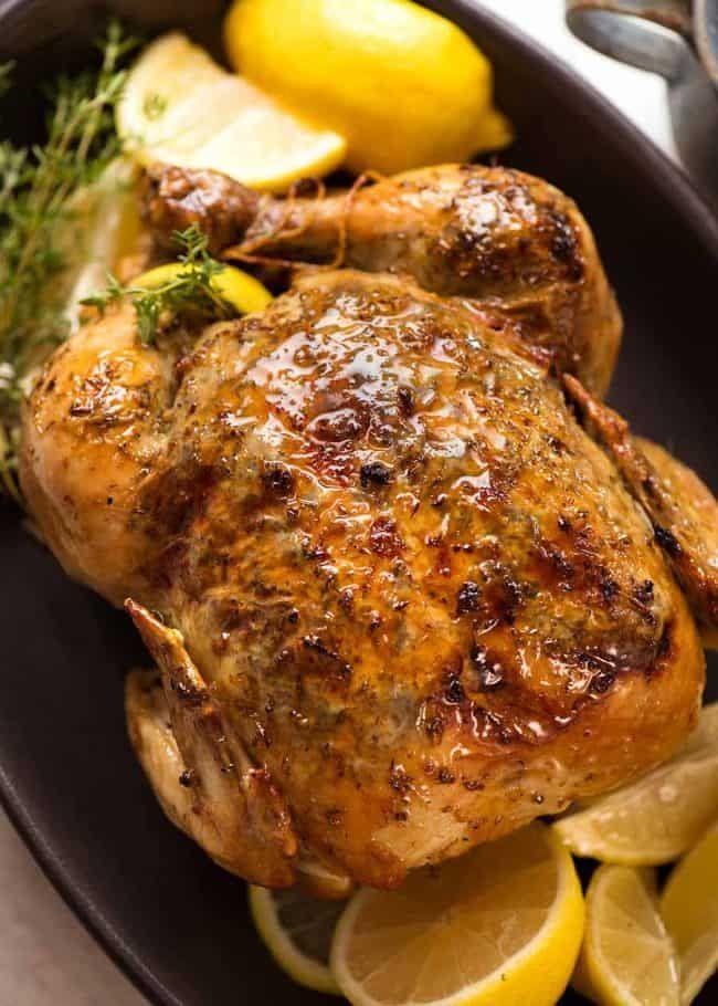 Lemon Garlic Slow Cooker Roast Chicken #slowcookerchicken