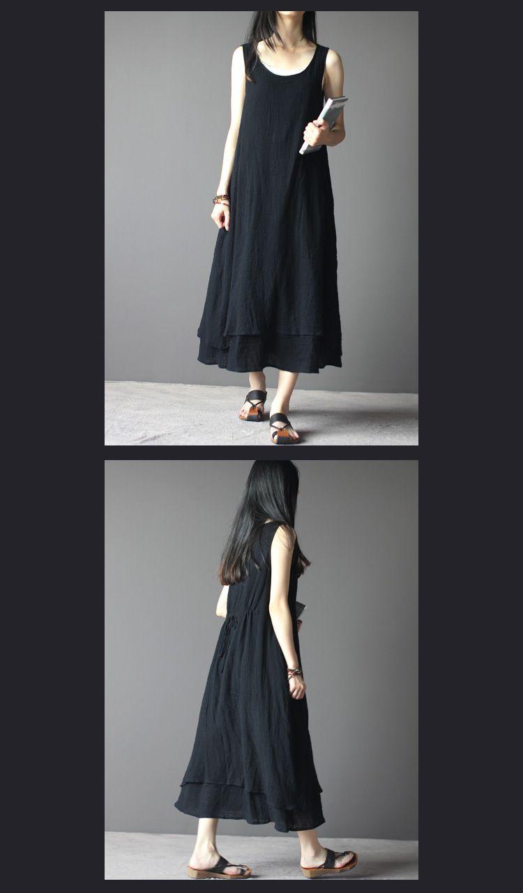 New casual dress plus size women vintage linen fluid loose one