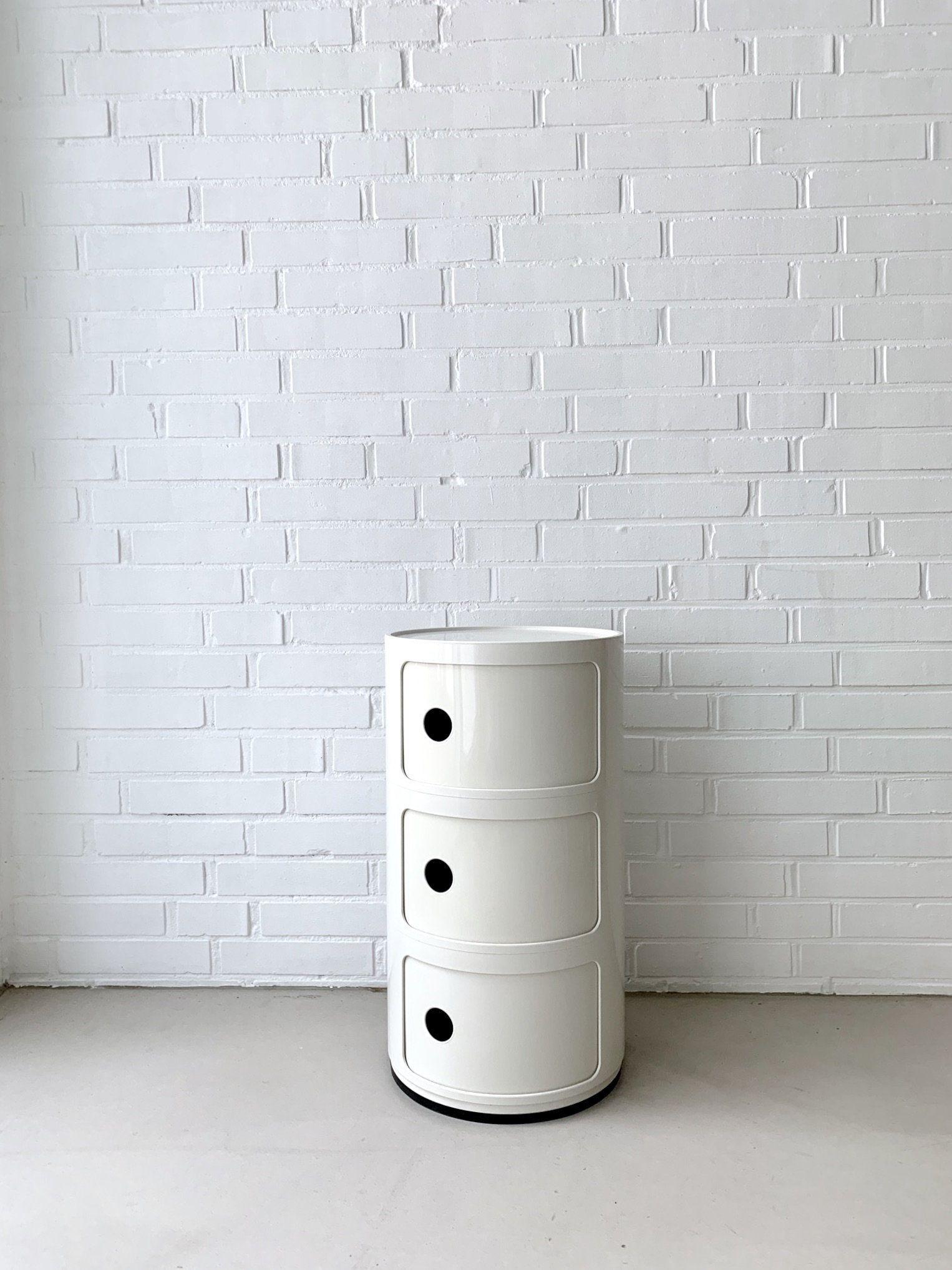 Vintage Kartell Container Homeoffice Regal Kartell Componibili Weiss Badezimmer Schrank 70ziger Jahre Regal In 2020 Vintage Designs Vintage Trash Can