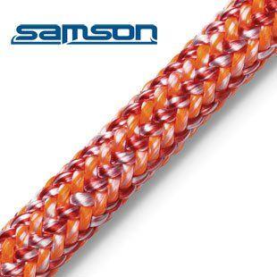 Samson Vortex Red/Orange 24 Strand Climbing Rope. 24 strand double braid. 1/2 inch (13mm) diameter.