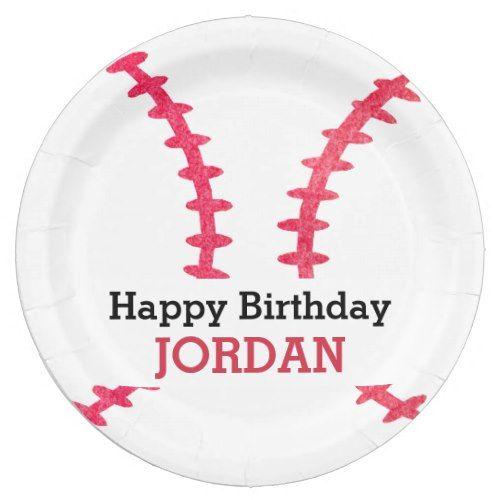Kids Personalized Baseball Happy Birthday Sports Paper Plate  sc 1 st  Pinterest & Kids Personalized Baseball Happy Birthday Sports Paper Plate | Happy ...