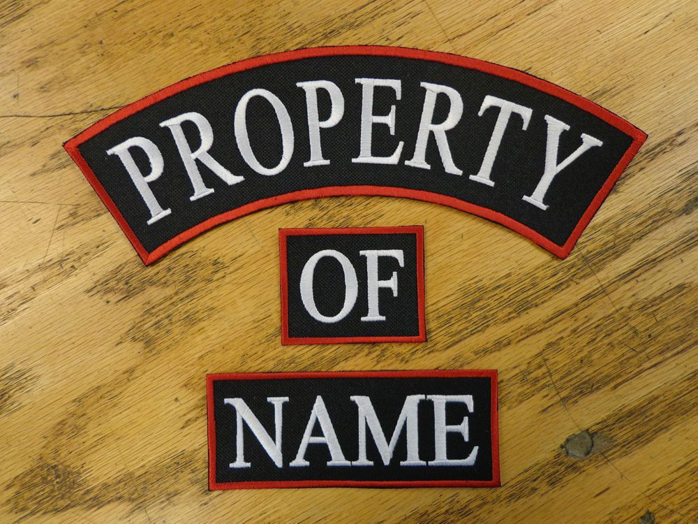 Custom Embroidery Property Of Name Biker Embroidered Set Patches