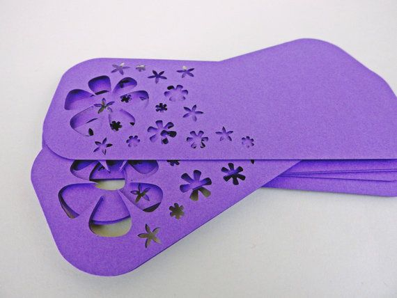 Large Flower Child Tags -- Qty 20 Tags -- Purple Flowers