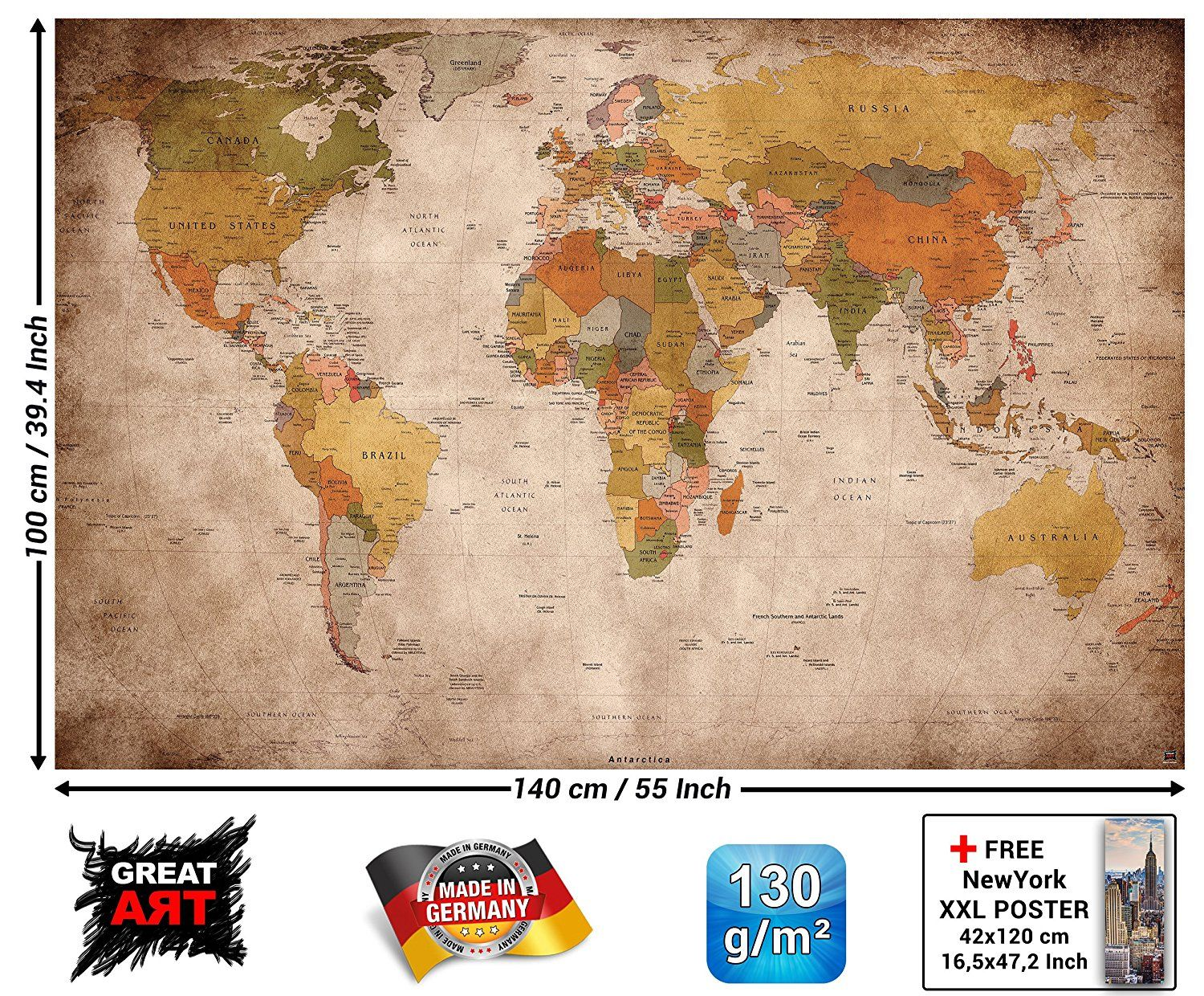 25 amazon great art xxl poster world map photo wallpaper 25 amazon great art xxl poster world map photo wallpaper vintage retro motif gumiabroncs Images