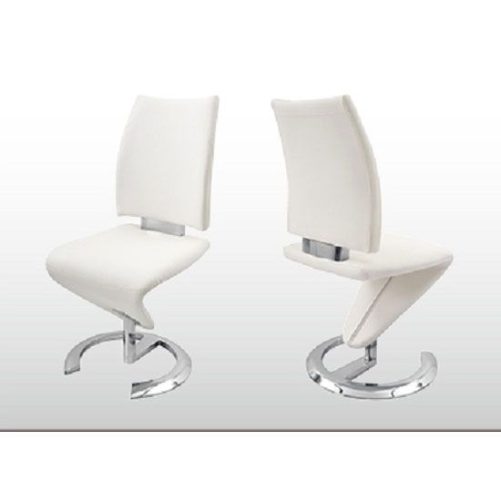 Nesta Z Shaped Modern Diningchair Is Finished In White Faux