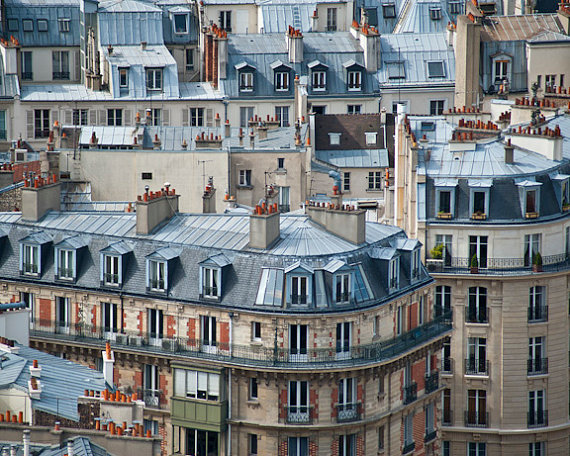Paris Rooftops Photo Parisian Roofs Photograph Houses Apartments ...
