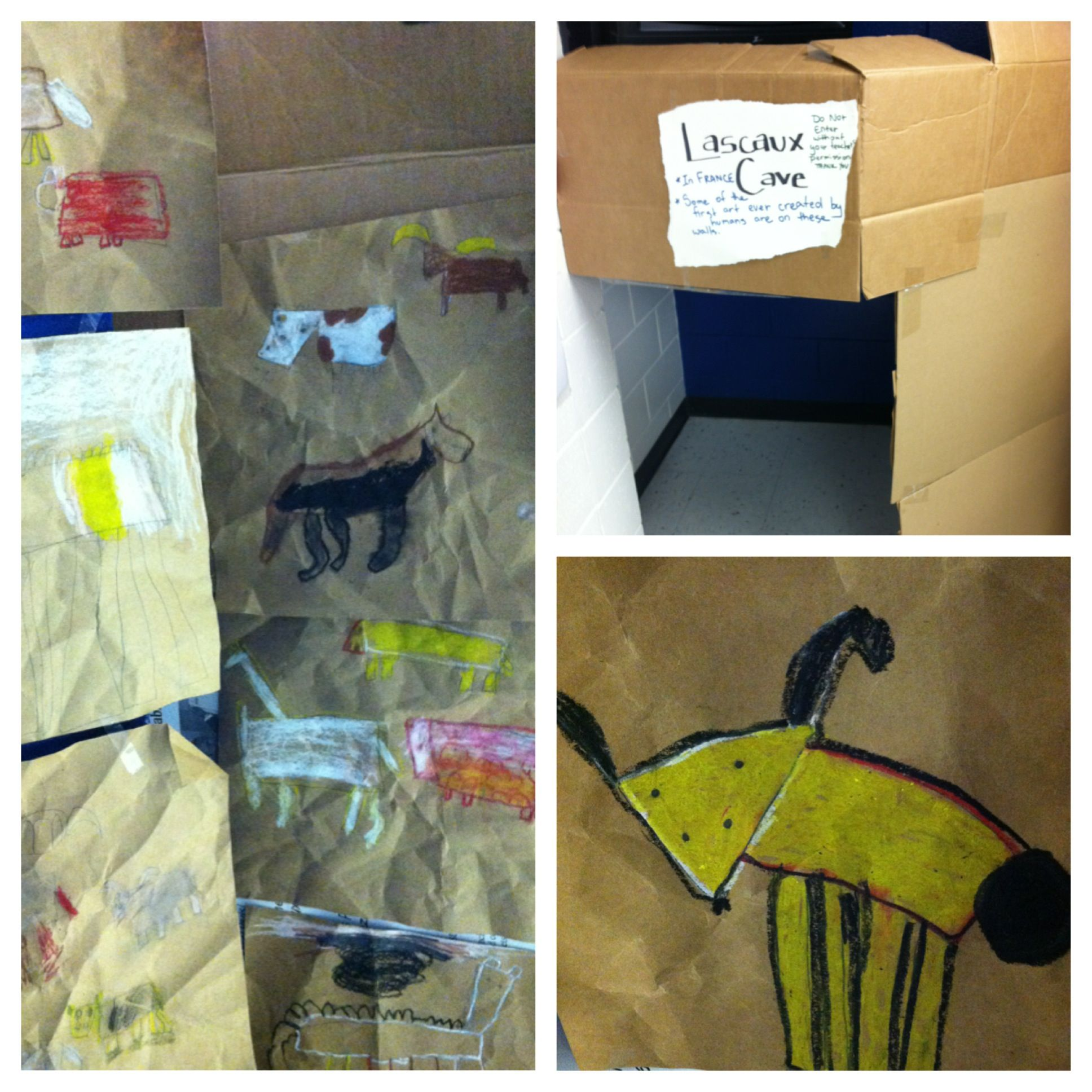 Lascaux Cave Lesson Build A Mini Cave Out Of Card Board In The Room And Hang The Students
