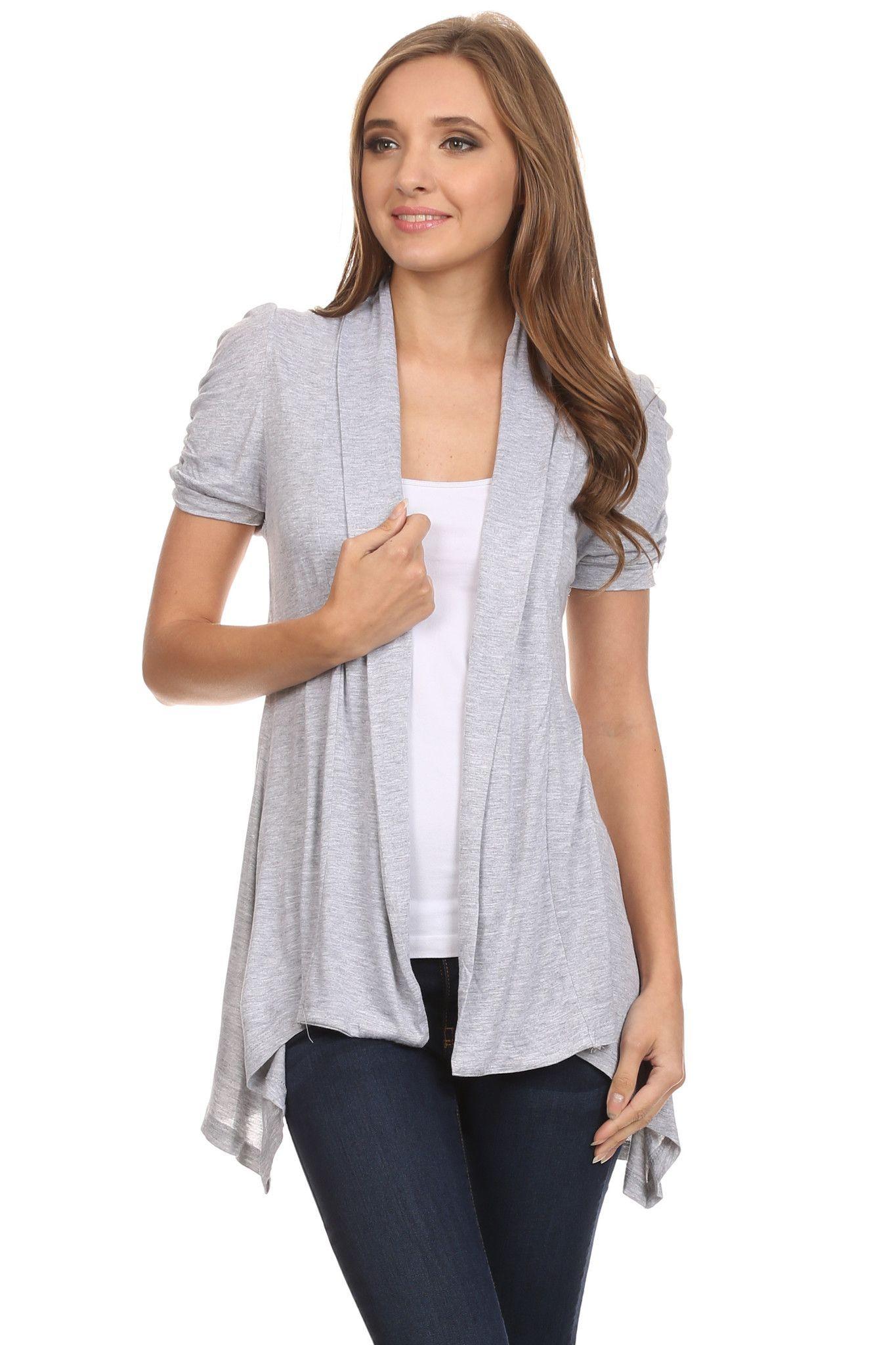 Short Sleeve Cardigan for Women Open Front Draped Flyaway Cardigan ...