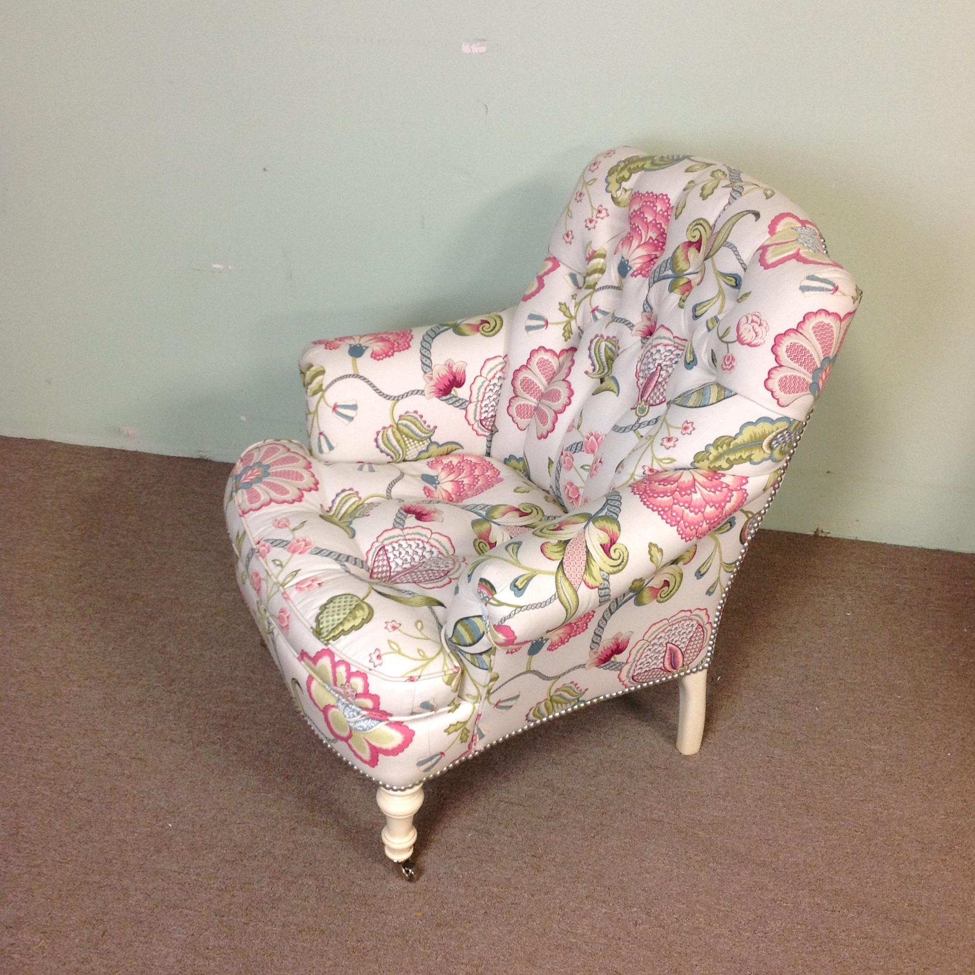 Lillian august albert tufted floral upholstered chair chairish