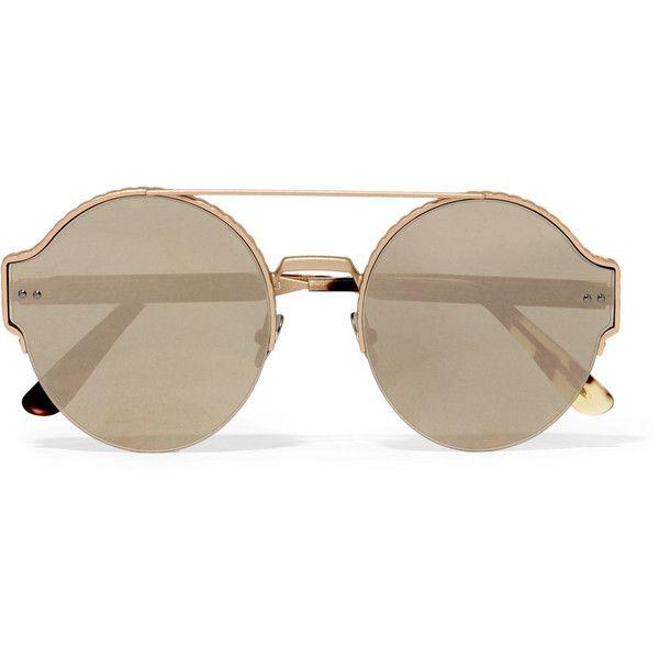 2b41f8aeca Bottega Veneta Round-frame gold-tone mirrored sunglasses (£320) ❤ liked on Polyvore  featuring accessories