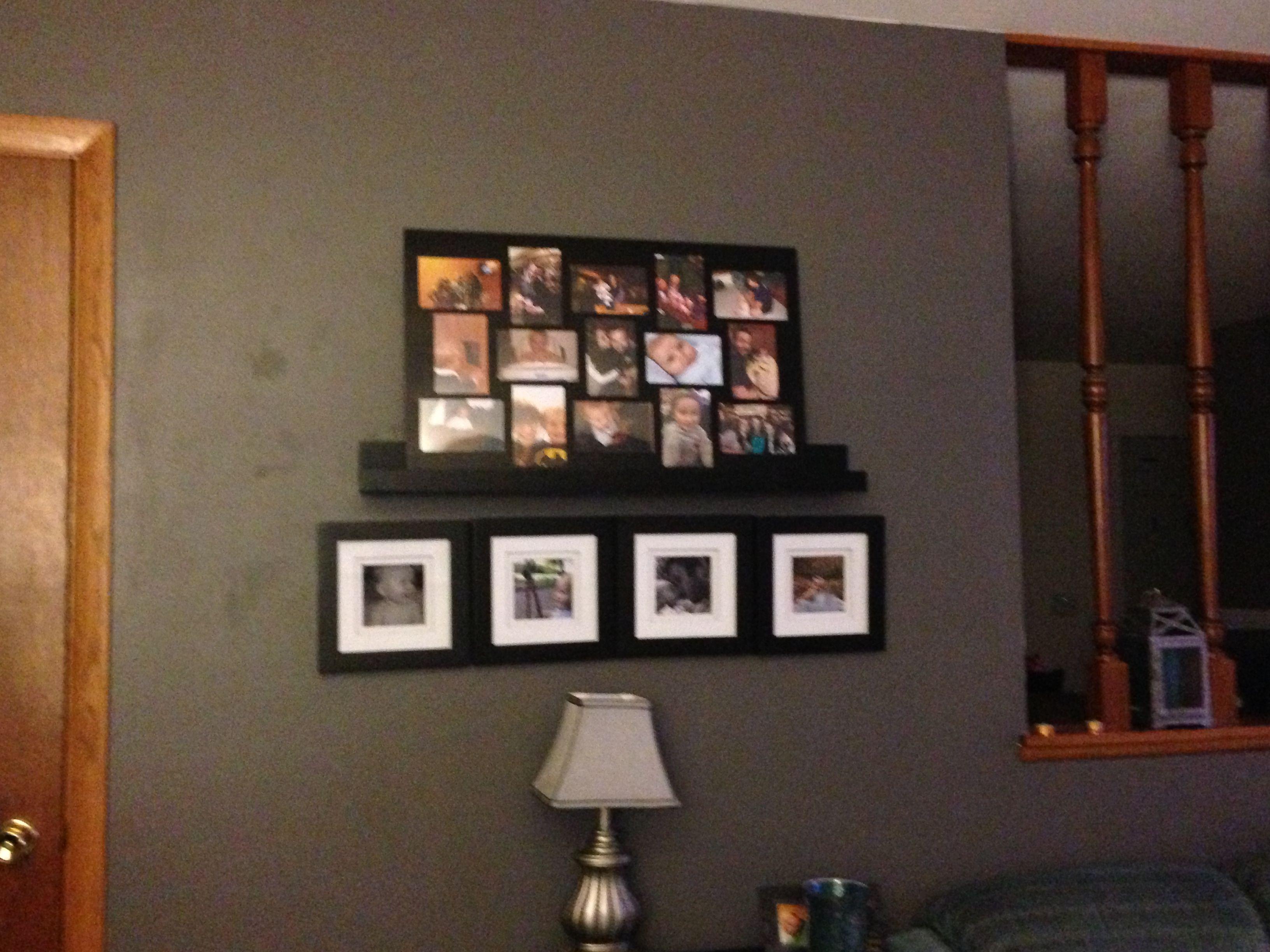 Living Room Wall Decor Dark Grey Wall Black Frames Living Room