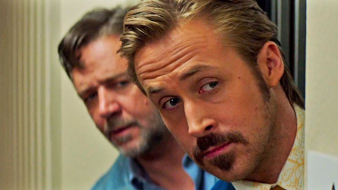 'The Nice Guys' (2016) - Ryan Gosling, Russell Crowe, Matt Bomer, Kim Basinger, Margaret Qualley, Ty Simpkins & Keith David.