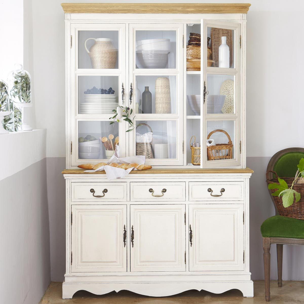 Vaisselier 3 tiroirs crème | White hutch, Kitchen decor and Buffet
