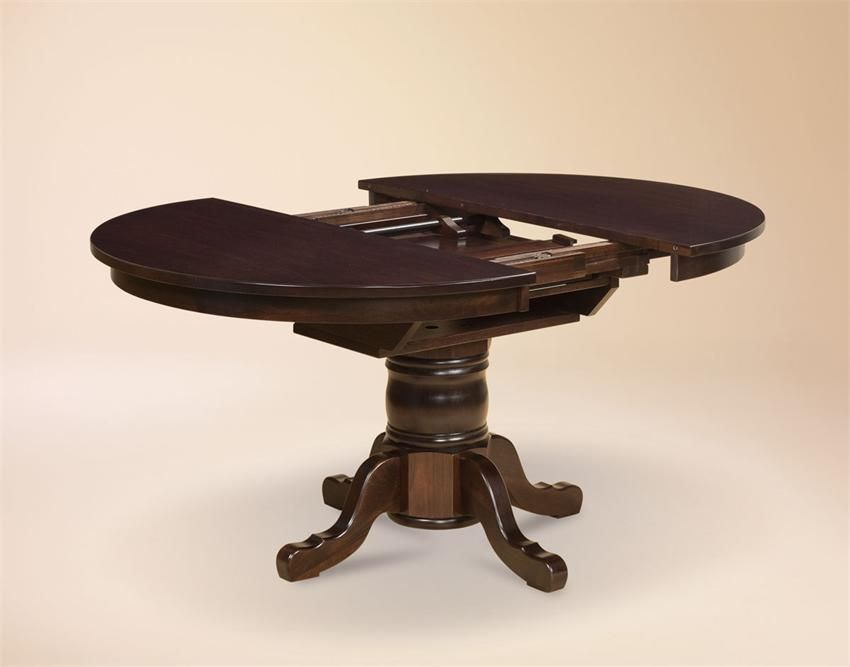 Amish marbella single pedestal table with butterfly leaf
