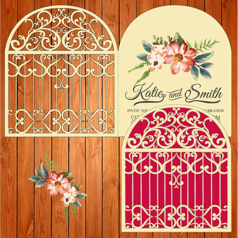 Invitation of the wedding card template, figures, doors (ai, eps ...