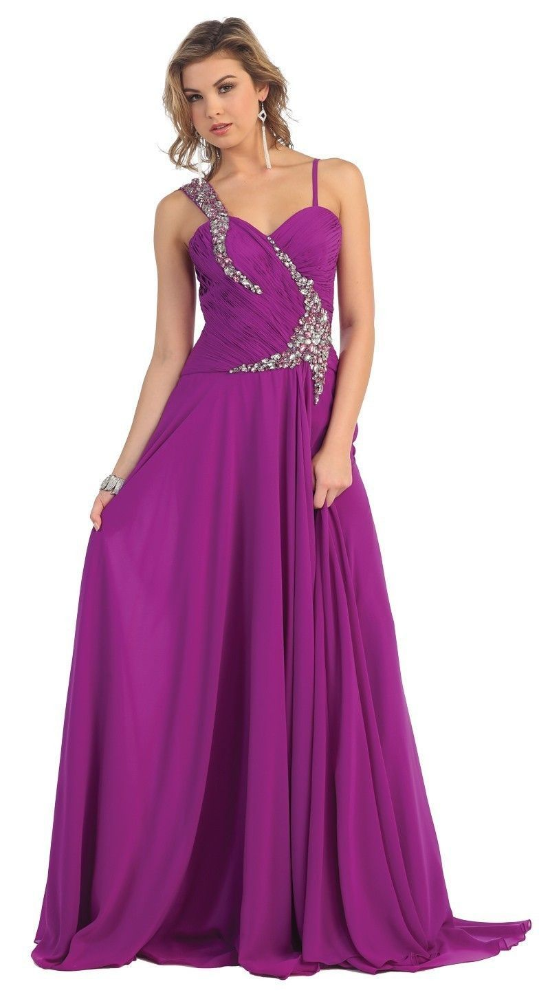 Comes in royal maymqmg magenta beaded strapped long prom dress