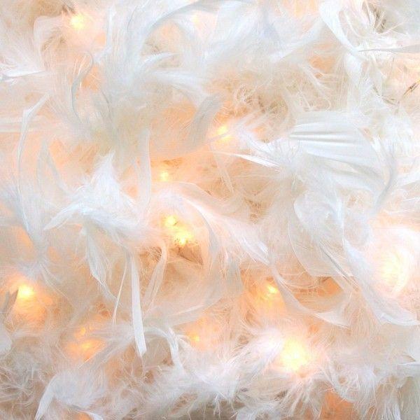 Hallway decor : White Feather Boa String Light