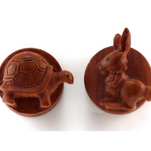 "5/8"" - Organic Sabo Rabbit & Turtle Reversible Double Flare Plugs - Pair"