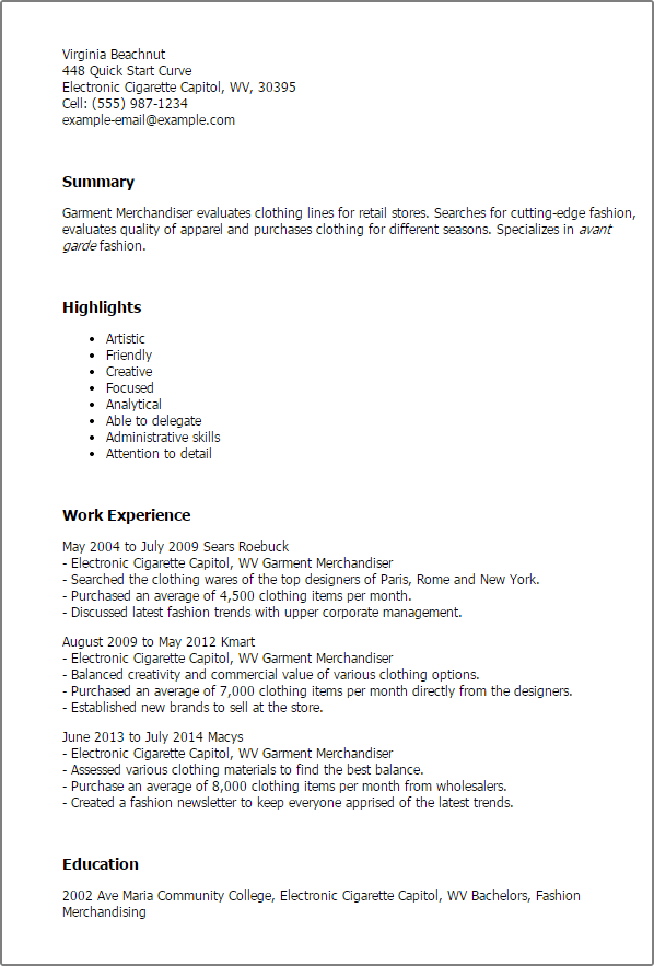 Garment Industry 3 Resume Format Pinterest Sample Resume