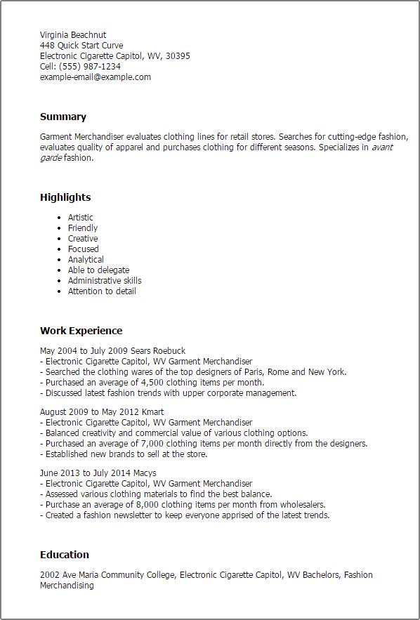 Resume Format Garment Industry Resume Format Sample Resume Templates Retail Resume Template Resume Summary