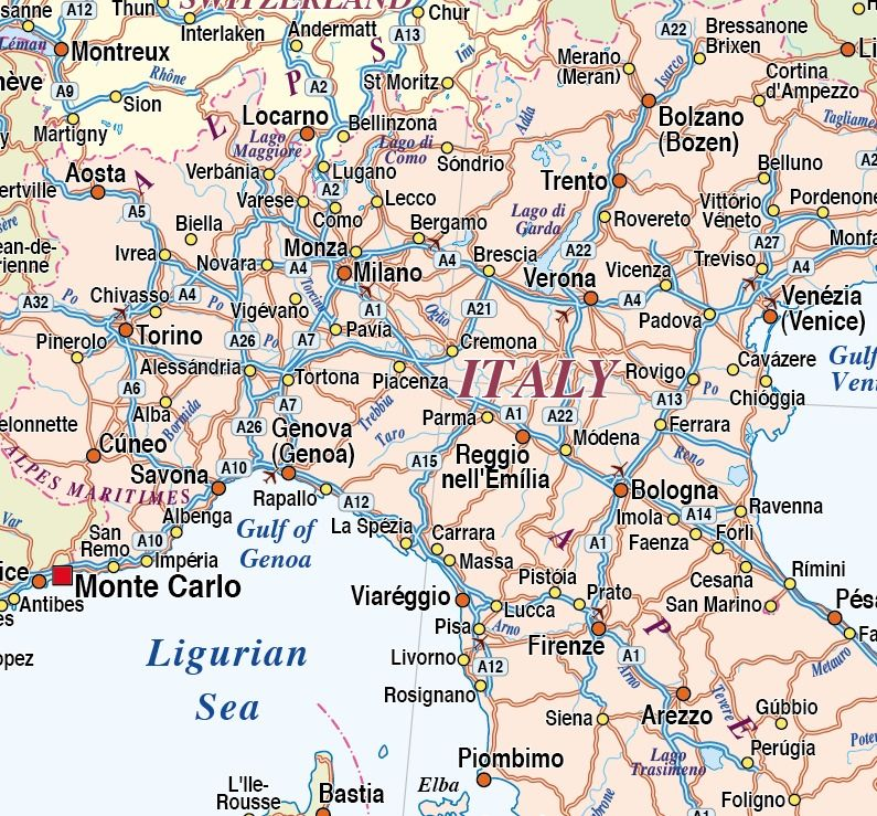 North Of Italy Map.Map Of Northern Italy Italia Northern Italy Map Country
