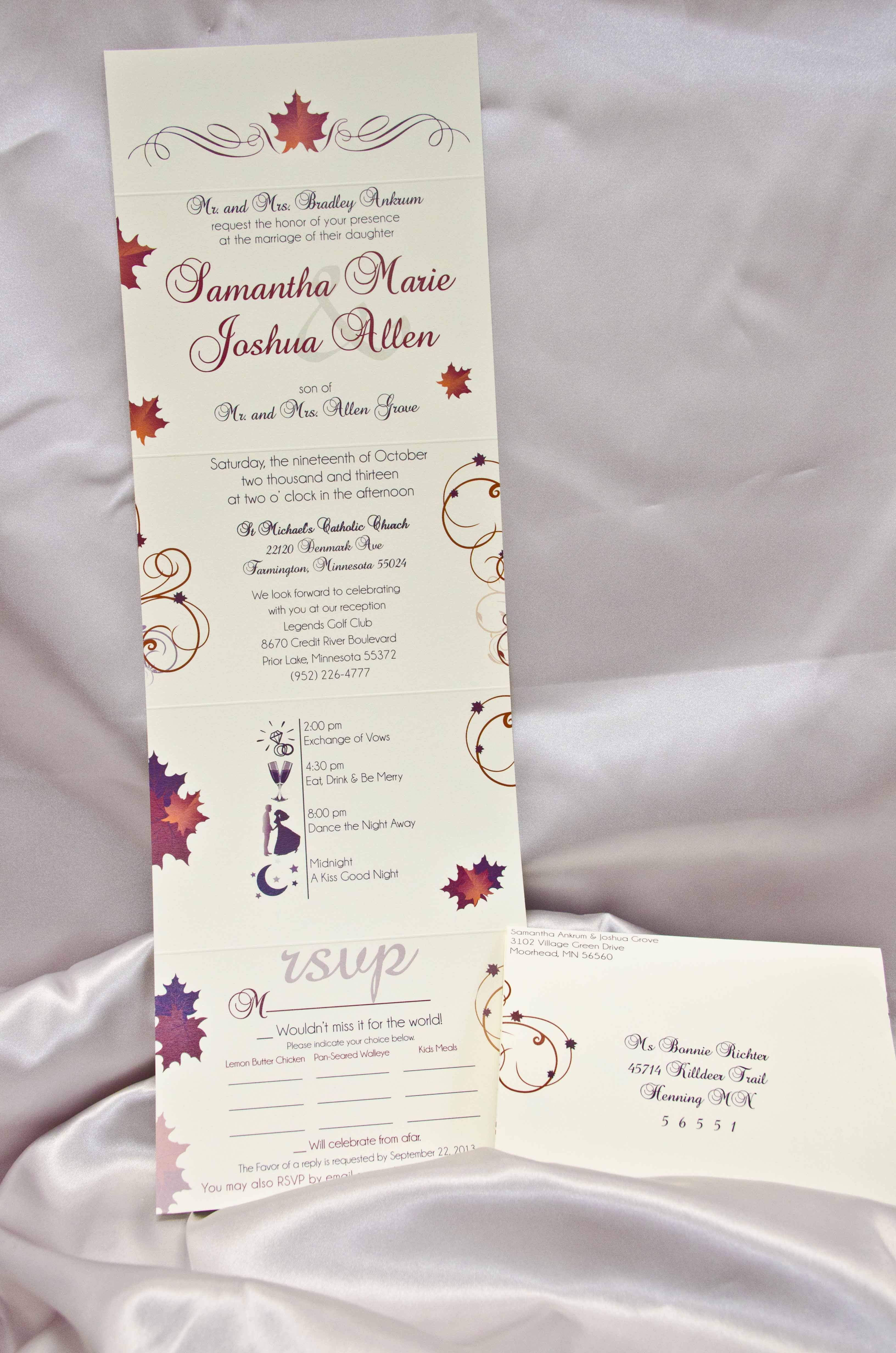 Leaves, fall theme, Seal and Send Wedding Invitations! Save time and ...