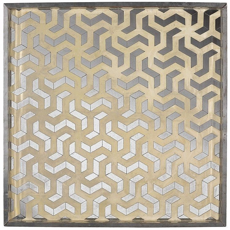 MONIR FARMANFARMAIAN B. 1924 UNTITLED signed and dated 75 twice on the reverse mirror, stainless steel, reverse-glass painting and plaster on wood 83.3 by 83.3 by 6.8cm.; 32 3/4 by 32 3/4 by 2 5/8 in