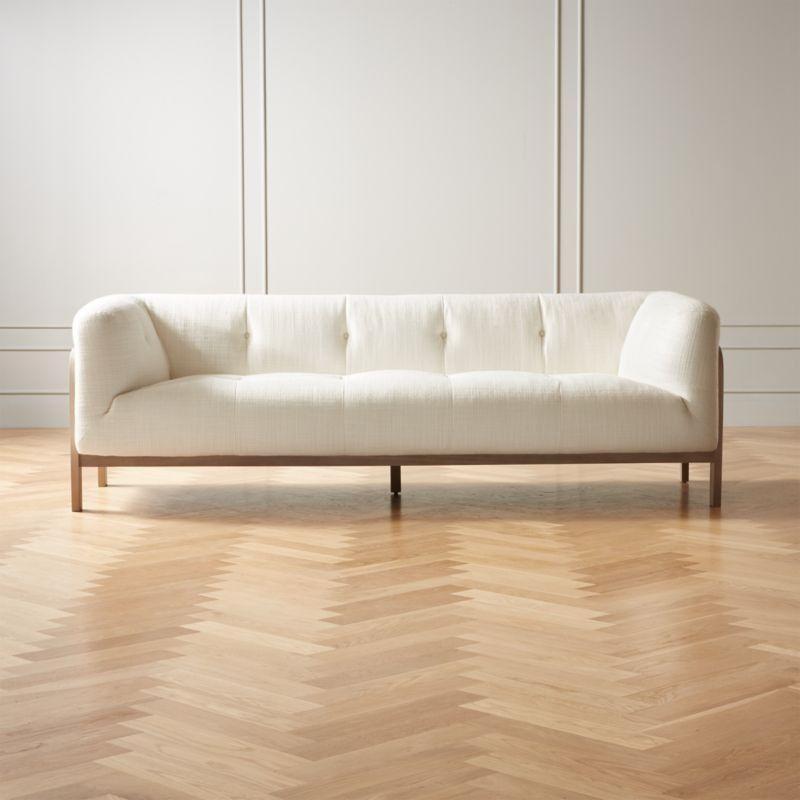 Moet White Tufted Sofa Cb2 Modern Furniture Living Room Modern Living Room Tufted Sofa