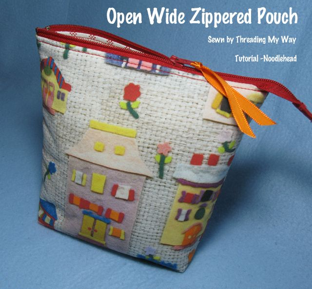 Zippered Knitting Project Bag Tutorial : Open wide zippered pouch zipper tutorial
