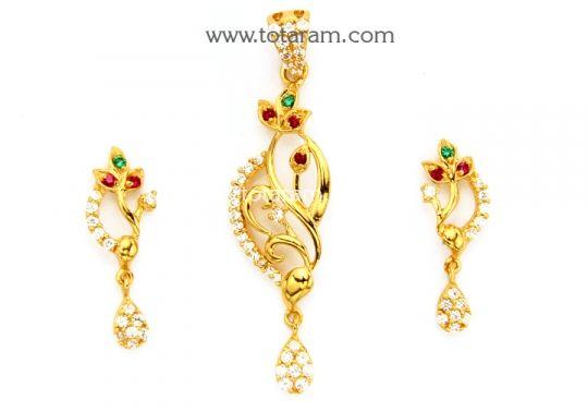 22K Gold Pendant Earring Set With Cz Color Stones Totaram