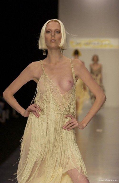 Oops Nude fashion model catwalk
