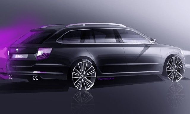 New Release 2015 Skoda Superb Combi Review Back Side View Model