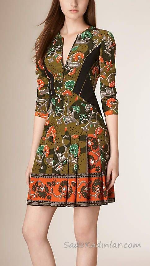 2019 Yazlık Elbise Modelleri Haki Kısa Yetim Kol Etekleri Pileli Desenli