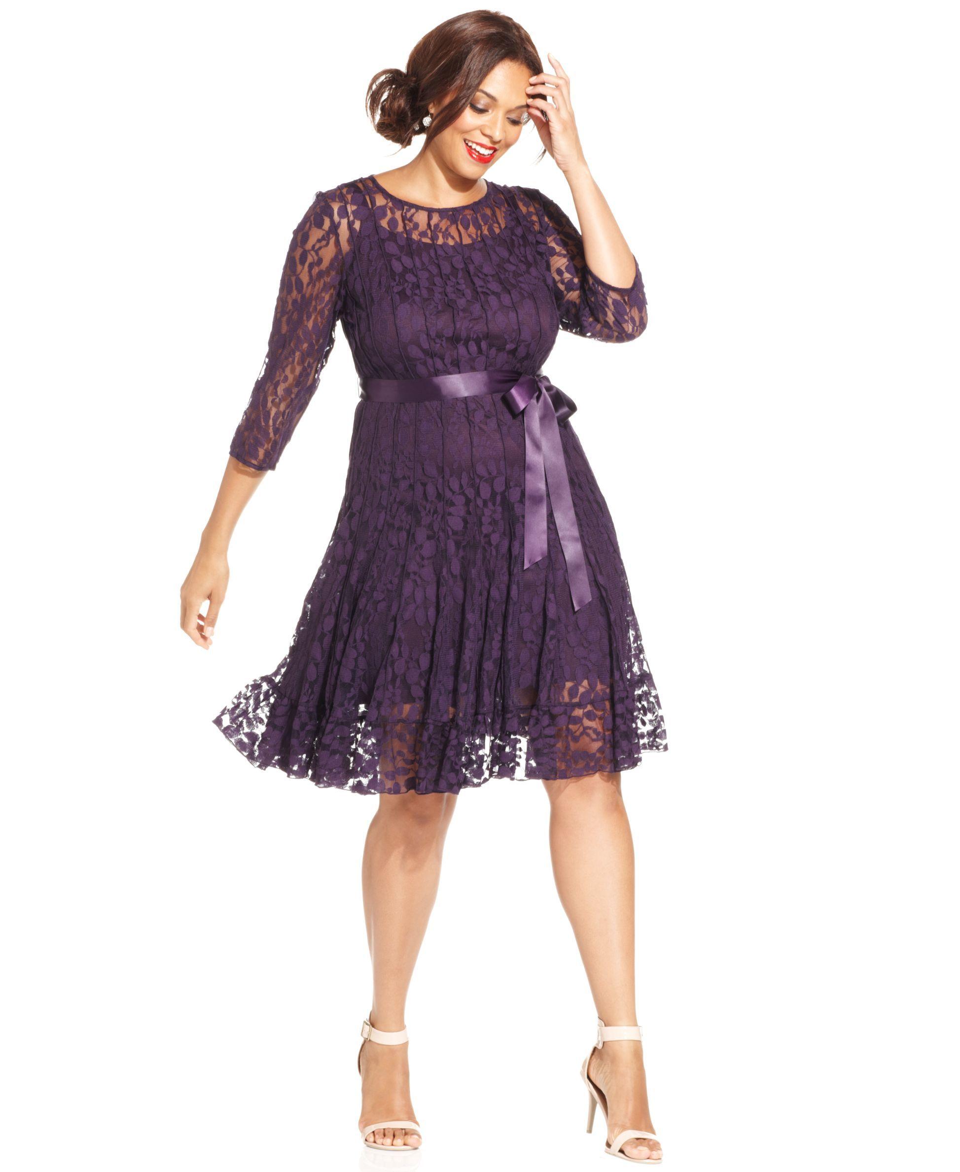 MSK Plus Size Illusion Floral Lace Dress - Dresses - Plus Sizes ...