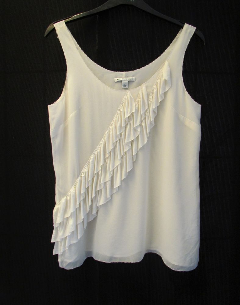 04956f9f670 Ladies BANANA REPUBLIC Silk Cream Sleeveless Top Size S approx 10-12   fashion  clothing  shoes  accessories  womensclothing  tops (ebay link)