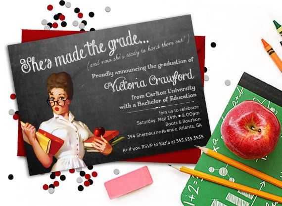 Teacher Graduation Invitation MAKING THE by ConfettiPrintsShop