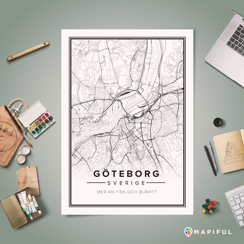 Create And Order Custom Posters Based On Your Favorite Places This Poster Show You Gothenburg In Sweden Map Poster Map Print Custom Posters