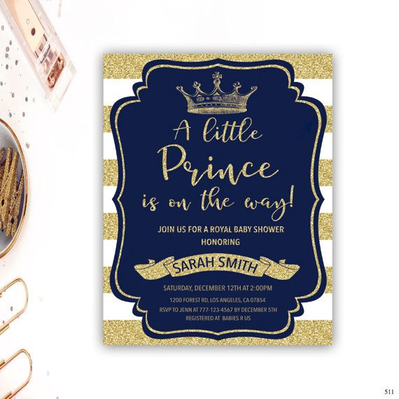 royal prince baby shower invitation blue and gold baby shower