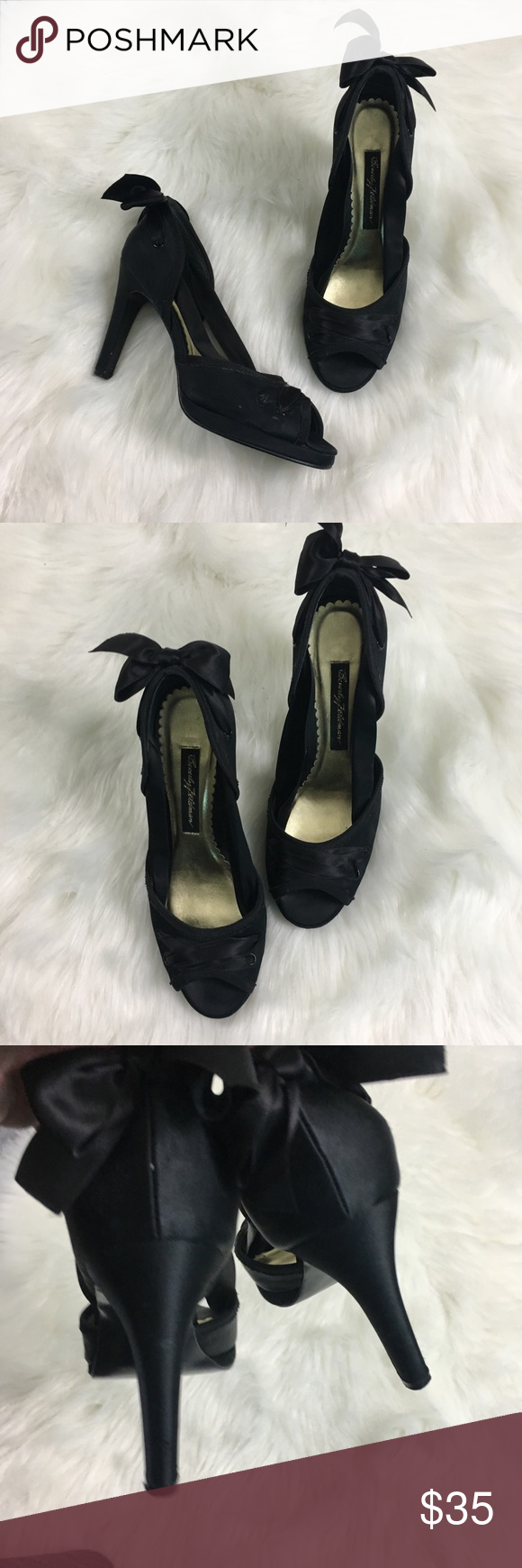 7ff8d43c0b9 Beverly Feldman Black Statin Peep Toe Pumps 6 So festive and perfect for  the holidays.