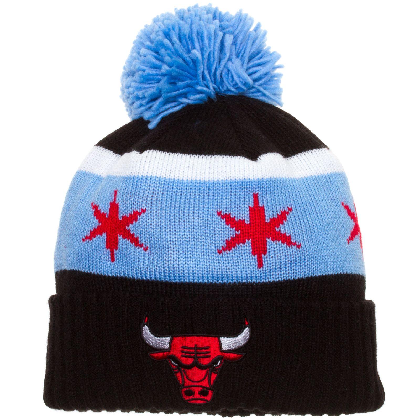 16fc872c574 Chicago Bulls Black Chicago Flag Cuffed Pom Knit Hat by Adidas  Chicago   Bulls  ChicagoBulls