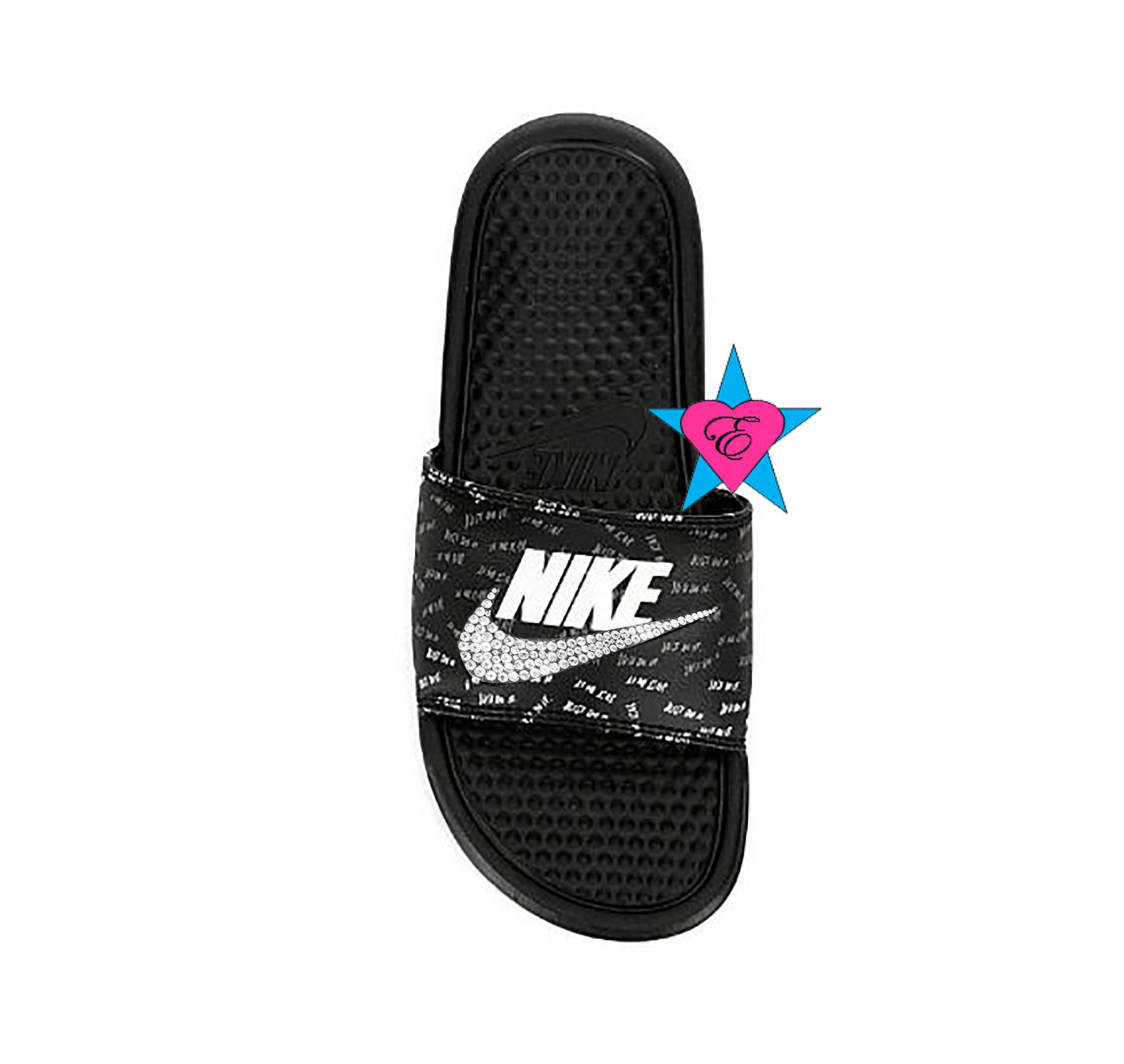 821a7b627b5 Bedazzled Glitter Just Do It Black Nike Benassi JDI Print Sport Slides with  Crystal Swoosh sold on Amazon in the Handmade section.