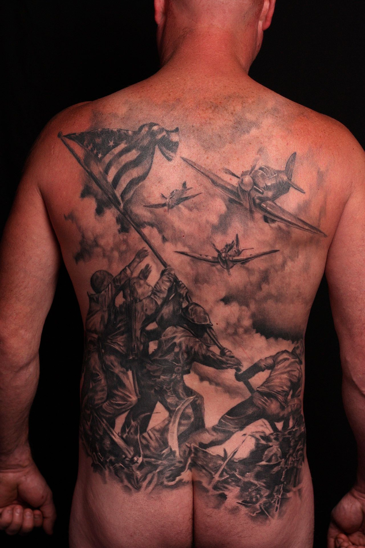 1956 chevy tattoo submited images pic2fly - Bad Ass Back Tattoo Marines Iwo Jima