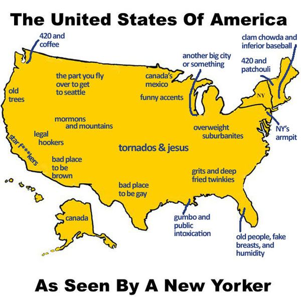 Map Of USA As Seen By A New Yorker  Scary Funny stuff and Humor
