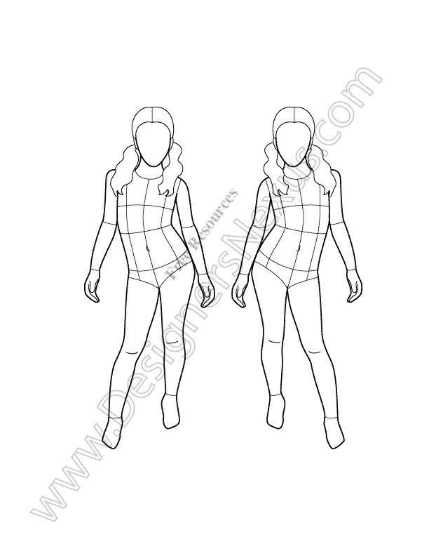 V18 Front View Girl Kids Croqui Template Children Sketch