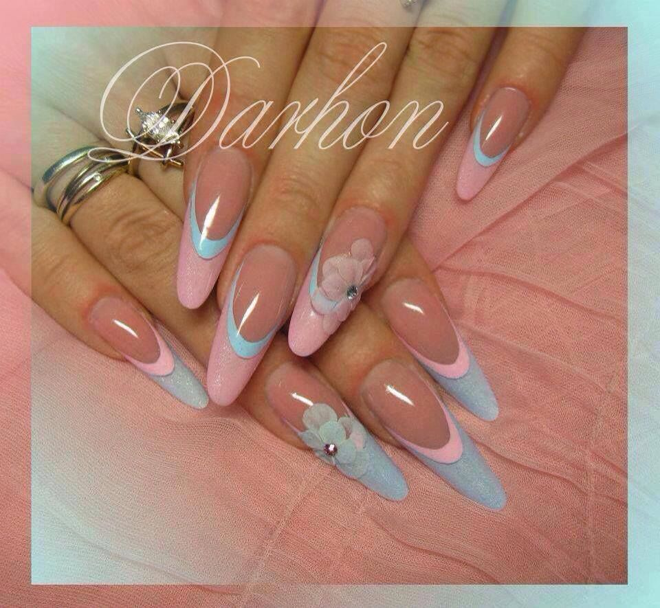 baby pink & blue, french manicure, flowers, nail art | Nails ...