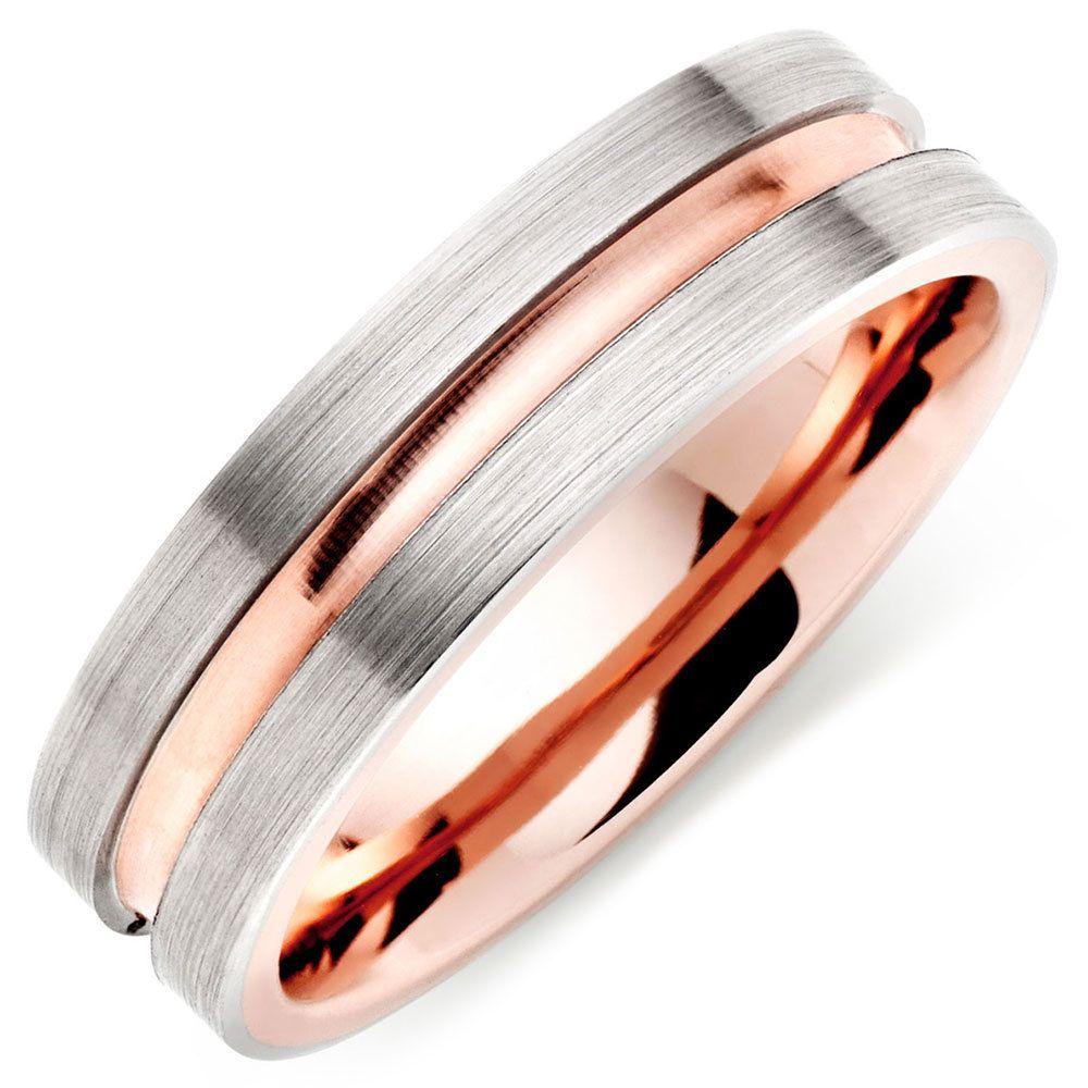 beaverbrooks mens palladium and 9ct rose gold wedding ring beaverbrooks groom weddingring - Mens Rose Gold Wedding Rings
