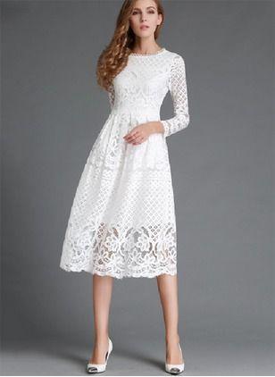 Vestidos Encaje Llanura Midi Manga Larga Vestidos Blancos