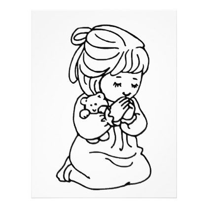 Girl Praying Illustration Zazzle Com Bible Coloring Pages