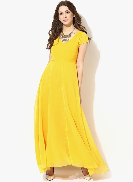 b63fa510ec23 Buy Aks Yellow coloured Solid Maxi Dress for Women Online India ...