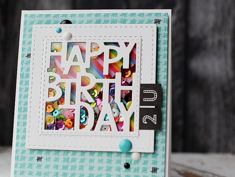 My first card is a colorful & fun shaker card using some
